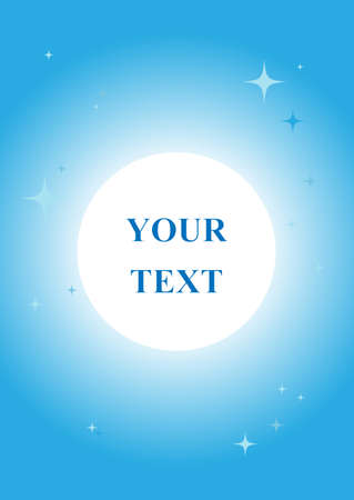 Blue doodle with geometric symbols and bright stars; geometric layout with your text