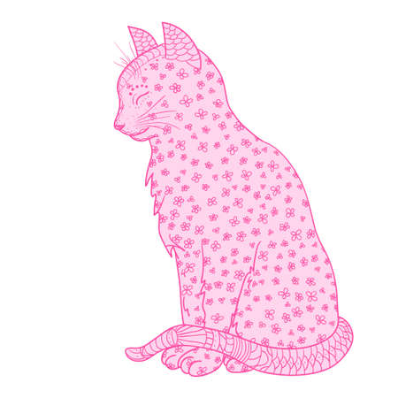 Cat. Zentangle. Hand drawn cat with abstract patterns on isolation background. Design for spiritual relaxation for adults. Art creative. Outline for tattoo, printing on t-shirts, posters and other