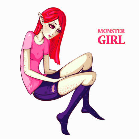 Monster girl with red hair on isolated background. Happy halloween! Print for polygraphy, posters and textiles