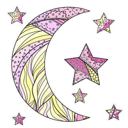 moon and star with abstract patterns on isolation background. Design for spiritual relaxation for adults. Line art creation. Outline for tattoo, printing on t-shirts, posters and other