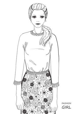 Hand drawn girl with abstract patterns on isolation background. Design for spiritual relaxation for adults. Line art. Black and white illustration