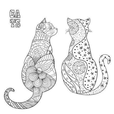 Hand drawn cat with abstract patterns on isolation background. Design for spiritual relaxation for adults.Outline for t-shirts. Print for polygraphy, posters and textiles 矢量图像