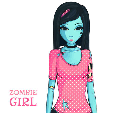 Zombie girl on white background. Zombie apocalypse. Sad girl in pink shirt