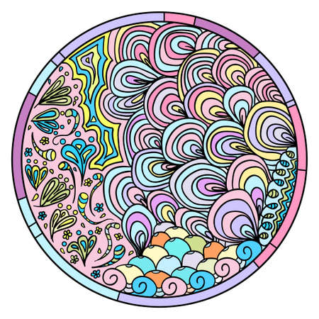 Hand drawn circle mandala with abstract patterns on isolation background. Design for spiritual relaxation for adults. Line art creation. Black and white illustration for coloring.
