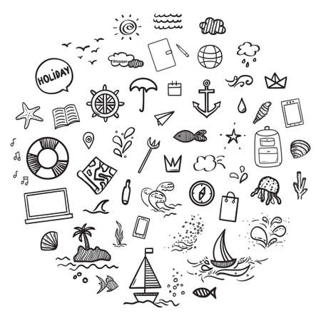 Hand drawn holiday elements on isolated background. Summer holidays. Signs and symbols. Freehand art. Black and white illustration 矢量图像