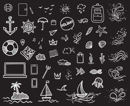 Holiday elements on isolated black background. Sketchy doodles. Summer relax. Signs and symbols. Black and white illustration