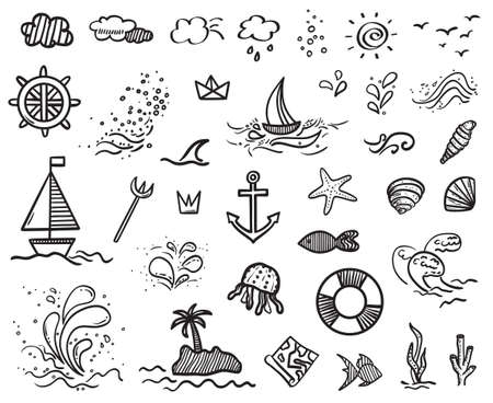 Hand drawn holiday elements on isolated background. Sketchy doodles on white. Summer holidays. Signs and symbols. Black and white illustration