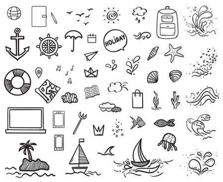 Hand drawn holiday elements. Sketchy doodles. Summer holidays. Freehand signs and symbols. Black and white illustration