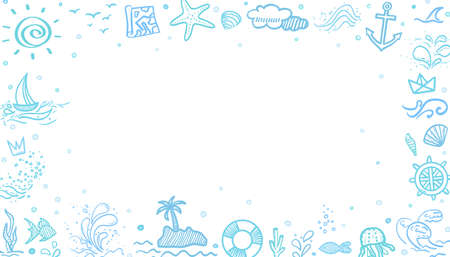 Hand drawn sketchy frame. Line holiday elements. Summer holidays. Freehand signs and symbols. Web banner 矢量图像