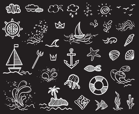 White holiday elements on isolated black background. Sketchy doodles. Summer relax. Signs and symbols. Black and white illustration