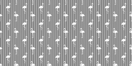 Seamless striped pattern with flamingos. Silhouettes of abstract birds. Geometric line texture. Black and white illustration