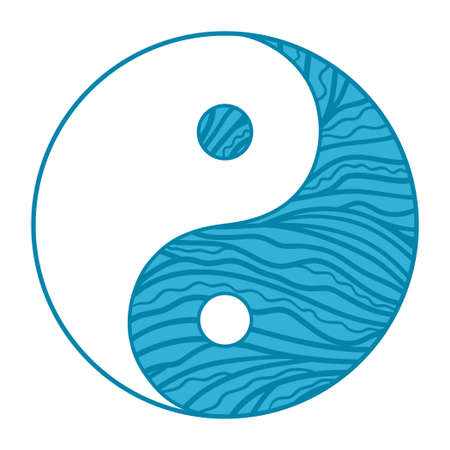 Yin and Yang. Religious symbol. Religion. Hand drawn circle sign on isolation background