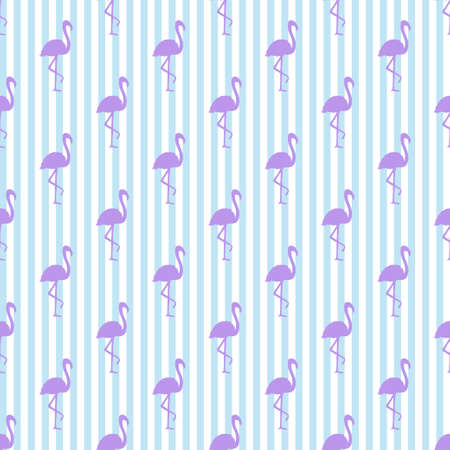 Seamless striped wallpaper with flamingos. Silhouettes of abstract birds. Print for design. Abstract line texture