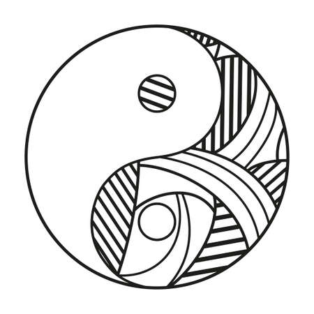 Yin and Yang. Religion symbol. Hand drawn symbol on isolation background. Design for spiritual relaxation for adults. Black and white illustration. Zen art 矢量图像