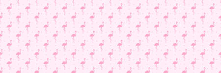 Seamless dotted background with flamingos. Print for polygraphy, shirts and textiles. Abstract dot texture. Colorful illustration