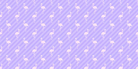 Seamless striped wallpaper with flamingos. Cartoon birds. Colorful illustration