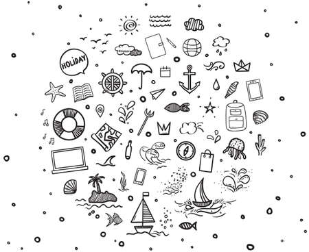 Hand drawn black holiday elements on white. Summer holidays. Freehand signs and symbols. Black and white illustration