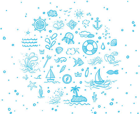 Hand drawn holiday elements. Summer holidays. Freehand signs and symbols. Banner design 矢量图像