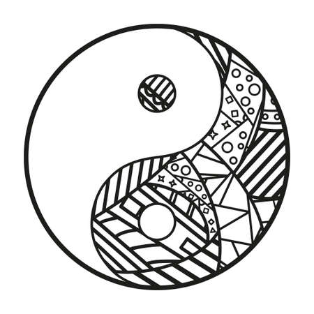 Yin and Yang. Hand drawn religious symbol on isolated background. Design for spiritual relaxation for adults. Black and white illustration