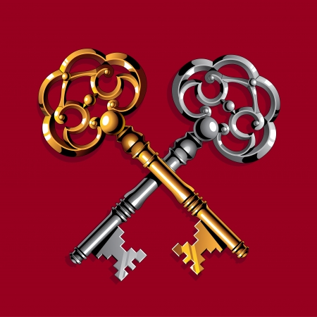 Gold and silver vintage keys on dark red background Vector