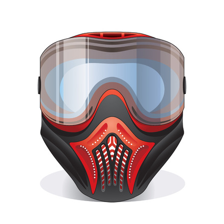 Red and black paintball mask with transparent goggles Vector
