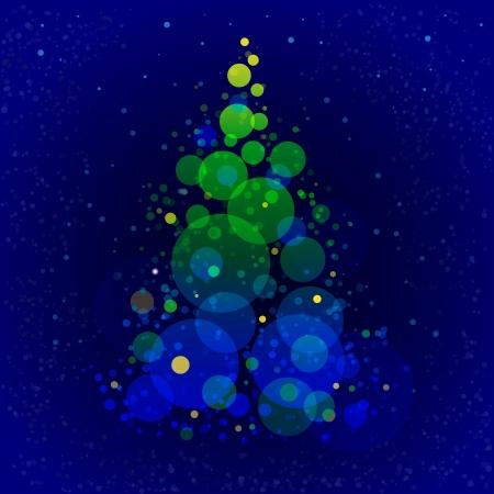 x mas background: Abstract shining christmas tree on dark blue background Illustration