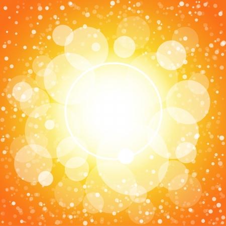 White circles orange abstract background.  Illustration