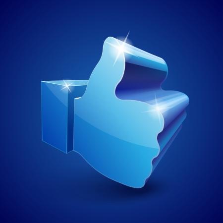 Shining 3d Like symbol on blue background.  Ilustração