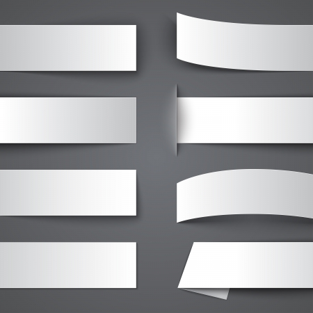 bage: Set of blank paper banners with shadows. RGB EPS 10 vector