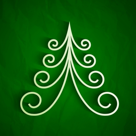 White 3d paper christmas tree on green background.  Vector