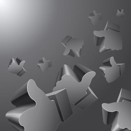 timelines: Flying 3d Like symbols on grey background. RGB EPS 10 vector Illustration