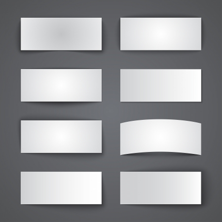 Set of blank paper banners with shadows. RGB EPS 10 vector Vector