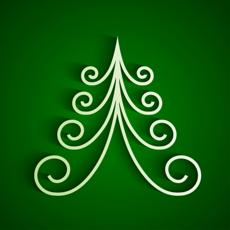 White 3d paper christmas tree on green background. RGB EPS 10 vector Vector