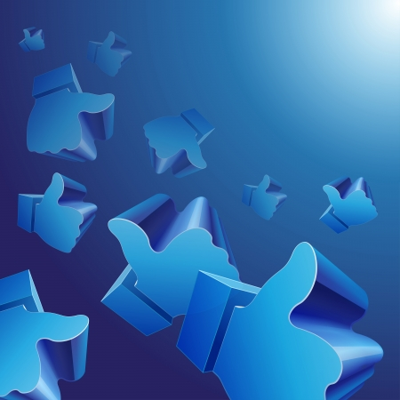 like button: Flying 3d Like symbols on blue background. RGB EPS 10 vector