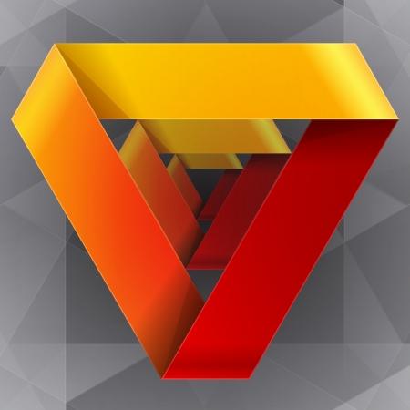 Moebius origami rood en oranje papier driehoek. RGB EPS-10 vector Stock Illustratie