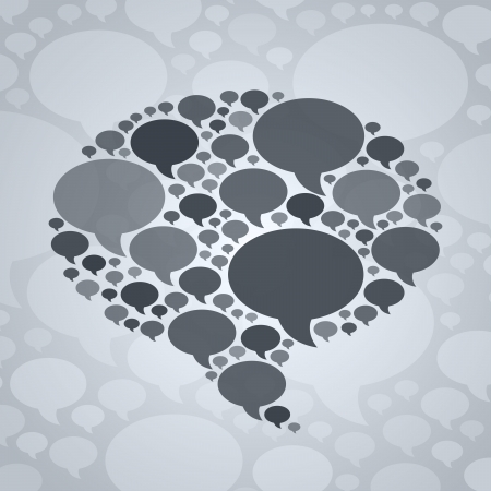 microblog: Chat bubble symbol on grey background. Illustration