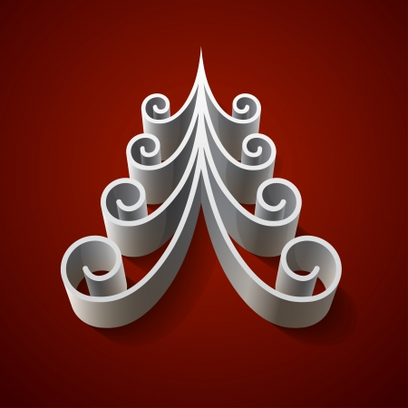 Silver 3d christmas tree on red background. Vector