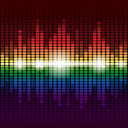 Arcobaleno splendente equalizzatore digitale sfondo. Vettoriali