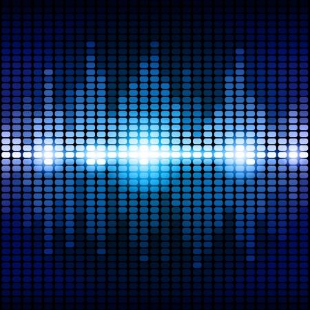 Blauwe en paarse digitale equalizer achtergrond. Stock Illustratie