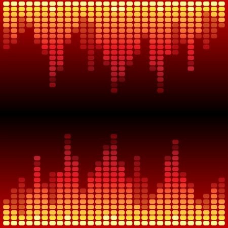 recording studio: Red and orange shining digital equalizer background. RGB EPS 10 vector illustration