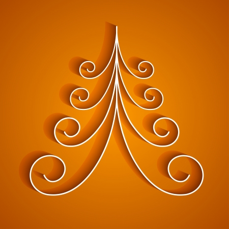 White 3d paper christmas tree on orange background.  Vector