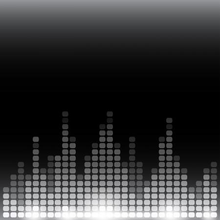 フレアのグレースケール デジタルイコライザー背景。