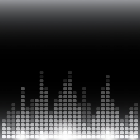 Grayscale digital equalizer background with flares.