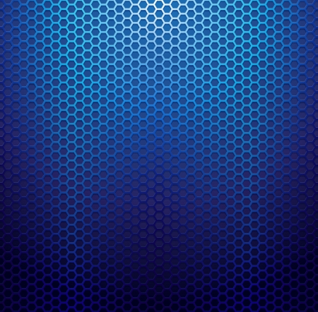 Blue metallic grid background.