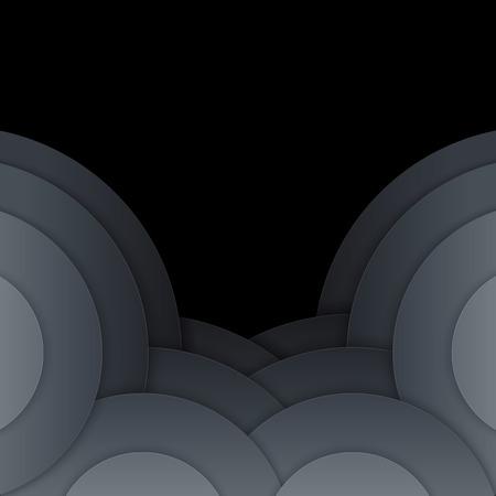 Abstract dark grey paper circles  Stock Photo