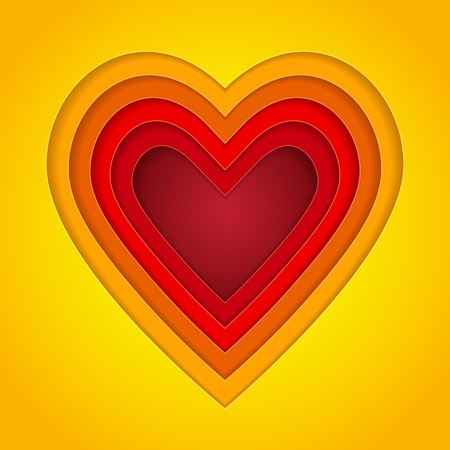 romance: Colorful red, orange and yellow paper layers heart shape. RGB EPS 10 vector illustration