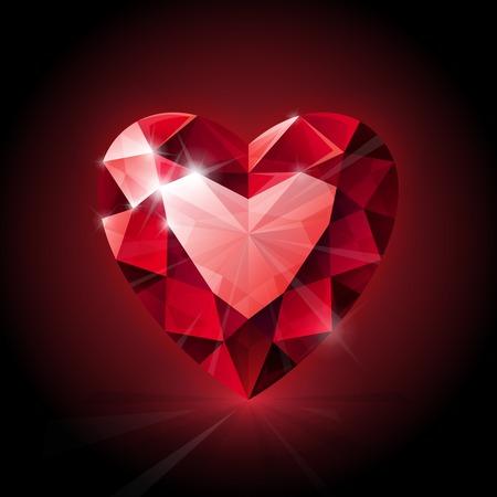 어두운 배경에 빨간색 빛나는 루비 심장 모양입니다. RGB EPS 10 벡터 일러스트 레이션