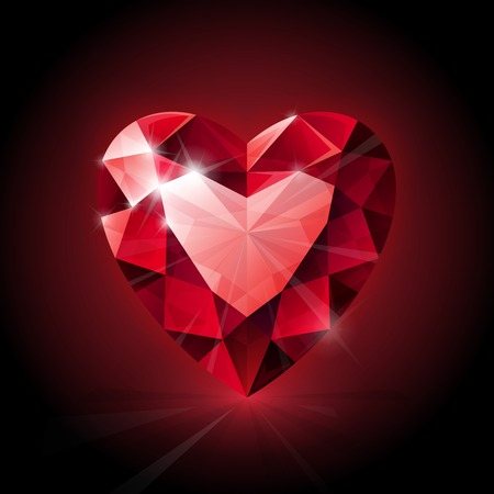 Red shining ruby heart shape on dark background. RGB EPS 10 vector illustration