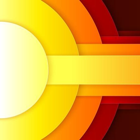 추상 빨강, 오렌지 및 노란색 종이 셰이프 배경 라운드. RGB EPS 10 벡터 일러스트 레이션 일러스트