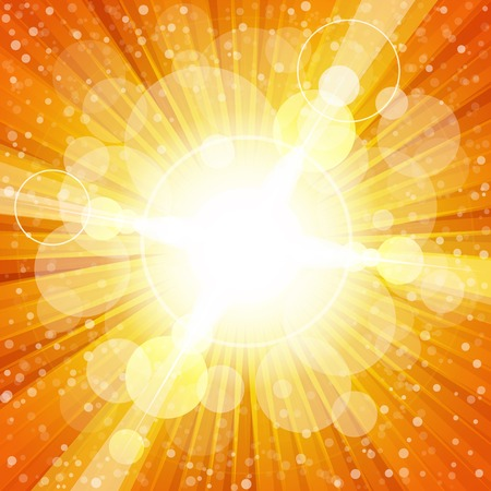 Yellow and orange colorful burst of light with lens flares. RGB EPS10 vector background